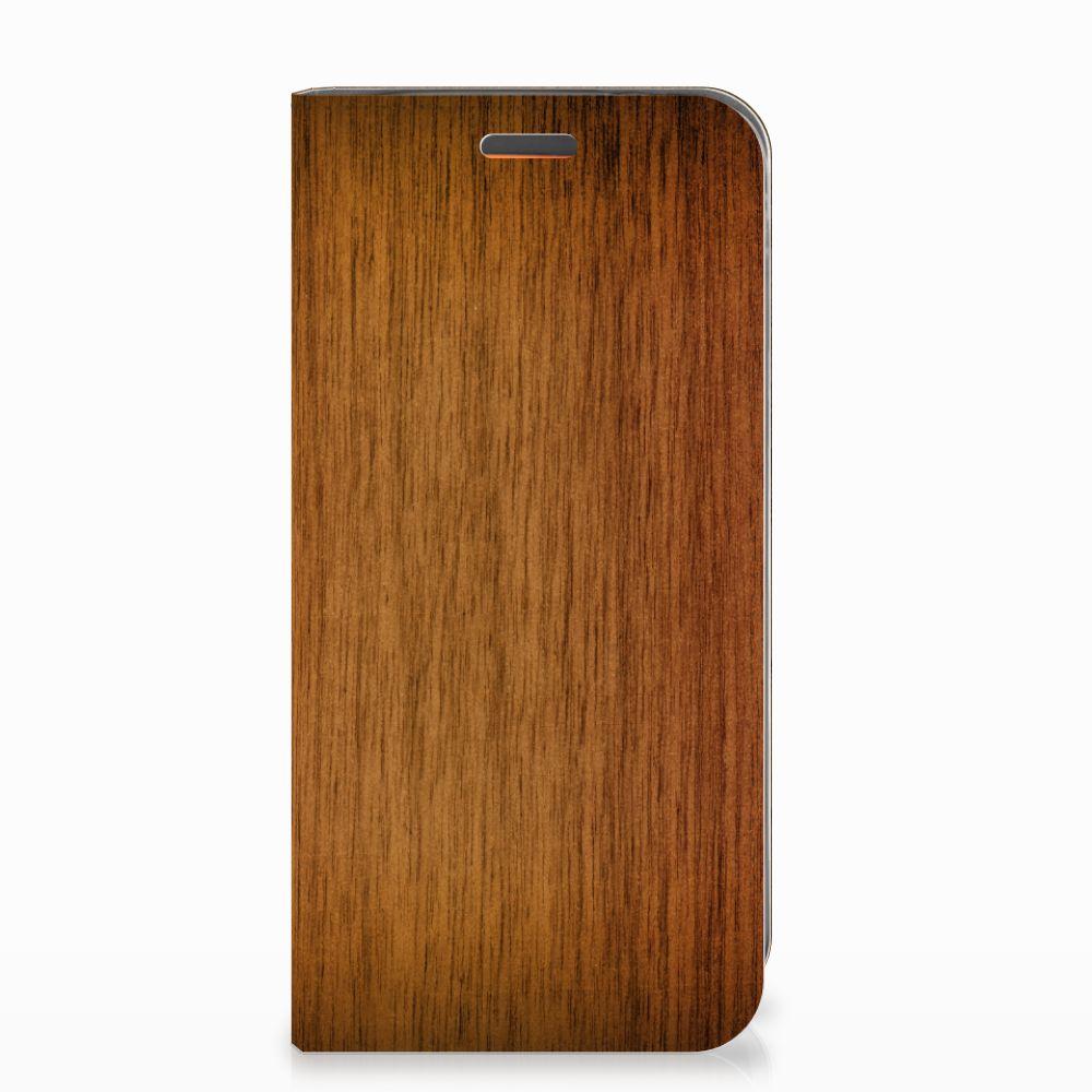 Motorola Moto E5 Play Book Wallet Case Donker Hout
