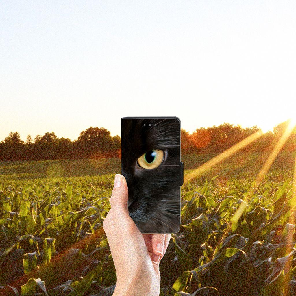 Samsung Galaxy S5   S5 Neo Telefoonhoesje met Pasjes Zwarte Kat