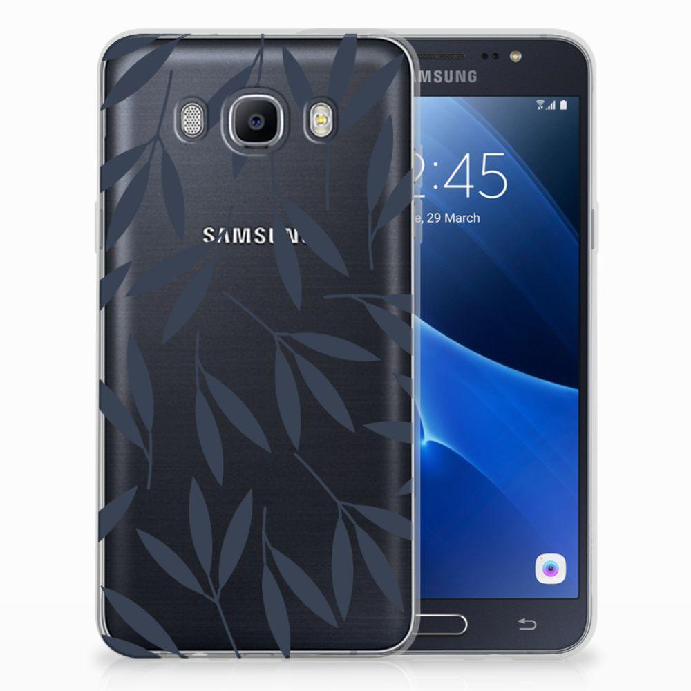 Samsung Galaxy J7 2016 TPU Hoesje Design Leaves Blue
