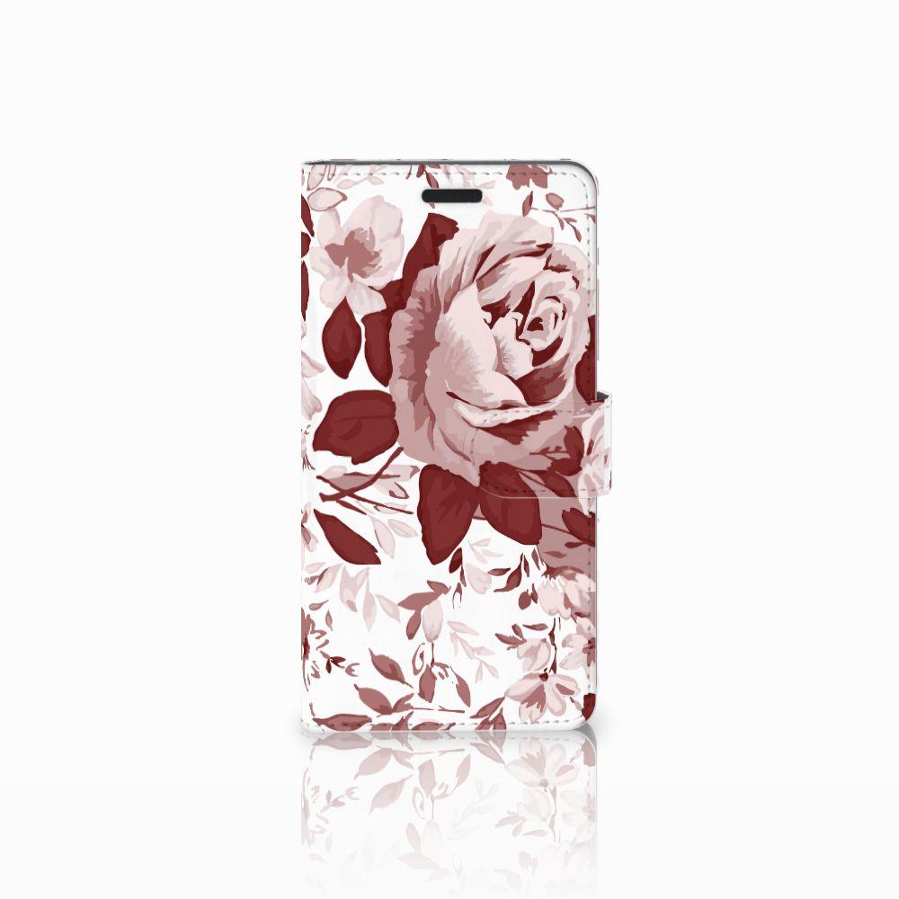 Samsung Galaxy A7 2015 Uniek Boekhoesje Watercolor Flowers