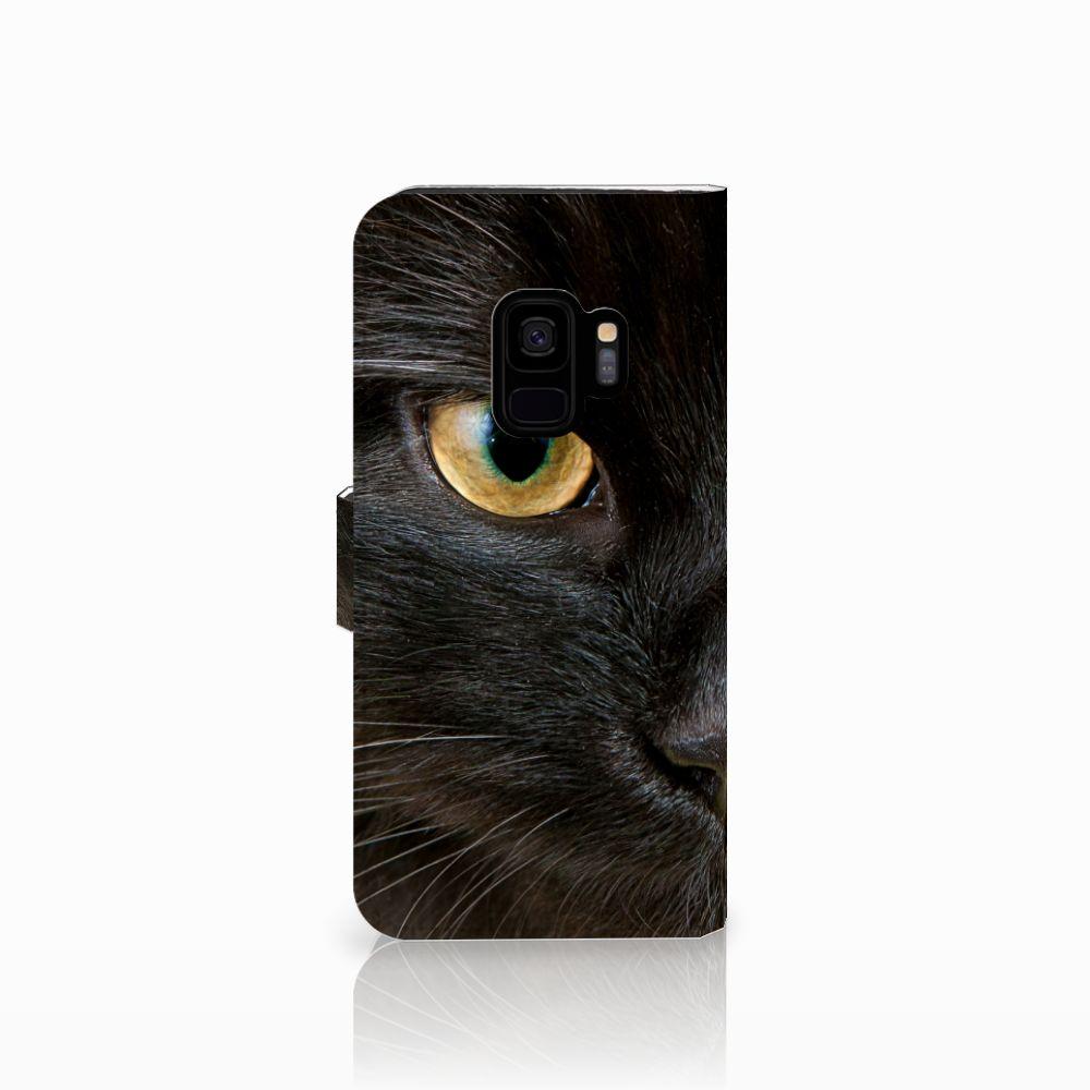 Samsung Galaxy S9 Telefoonhoesje met Pasjes Zwarte Kat