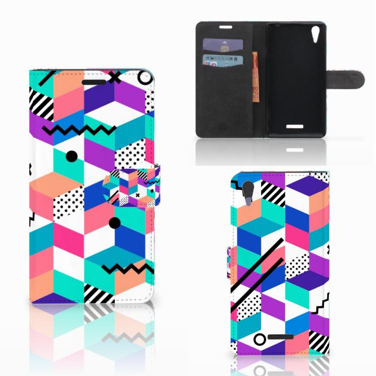 Sony Xperia T3 Bookcase Blokken Kleurrijk