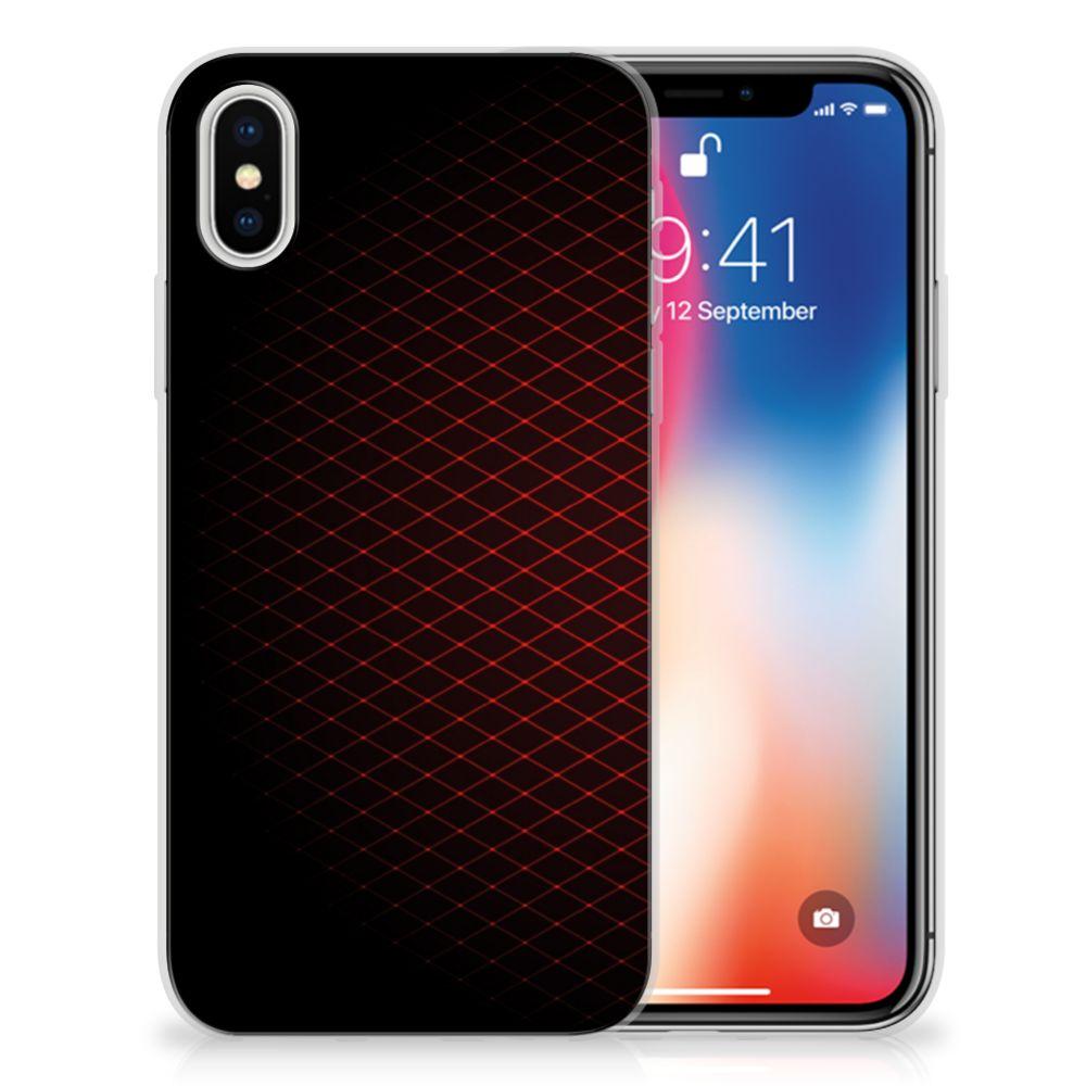 Apple iPhone X | Xs Uniek TPU Hoesje Geruit Rood