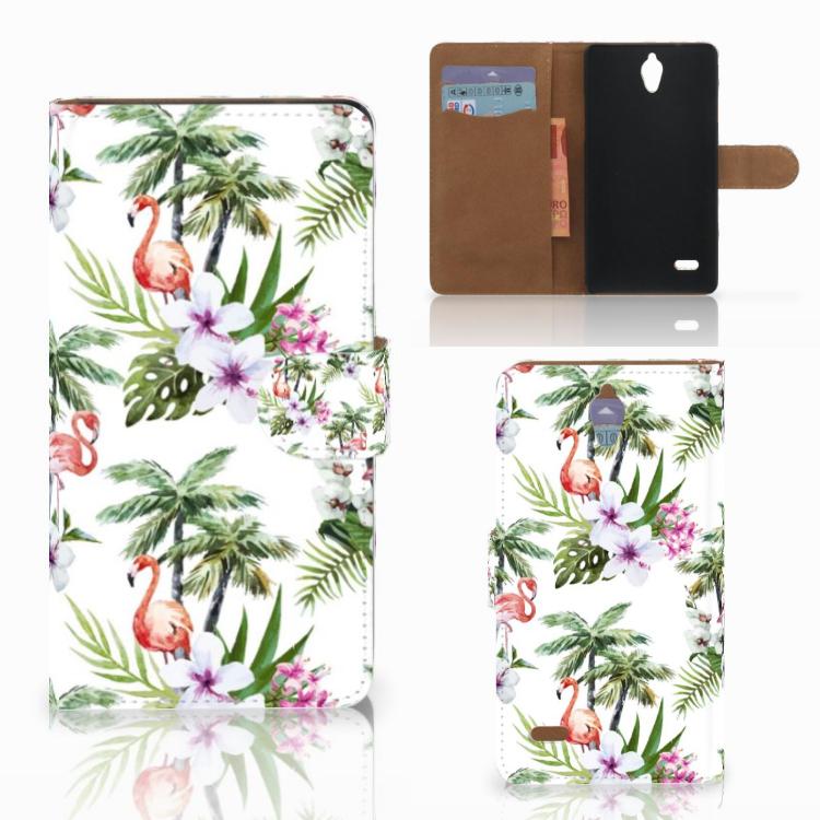 Huawei Ascend G700 Telefoonhoesje met Pasjes Flamingo Palms