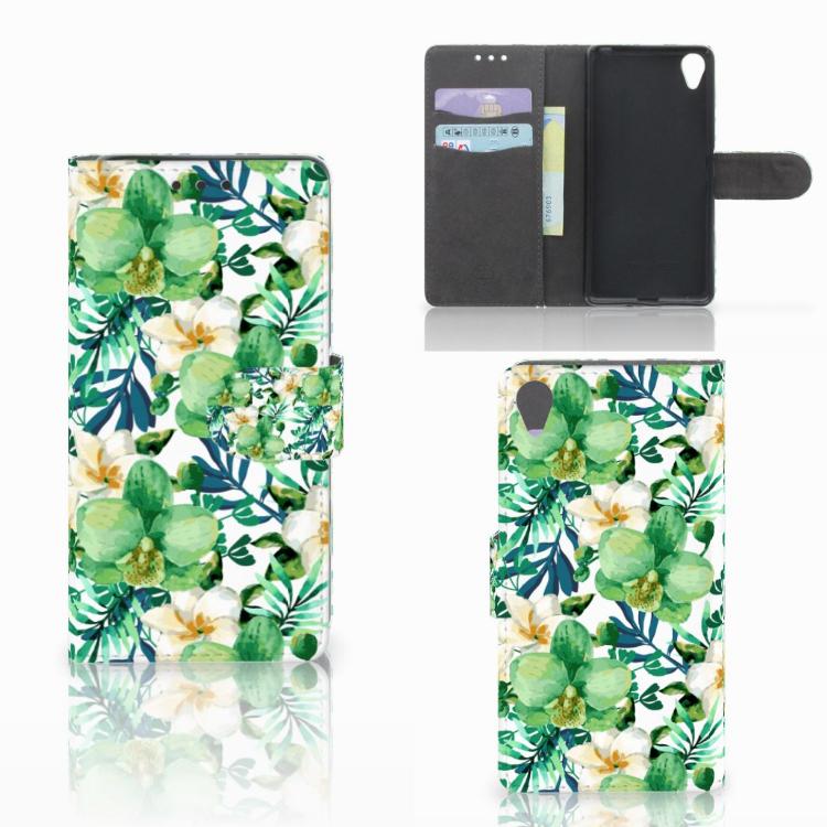Sony Xperia X Hoesje Orchidee Groen