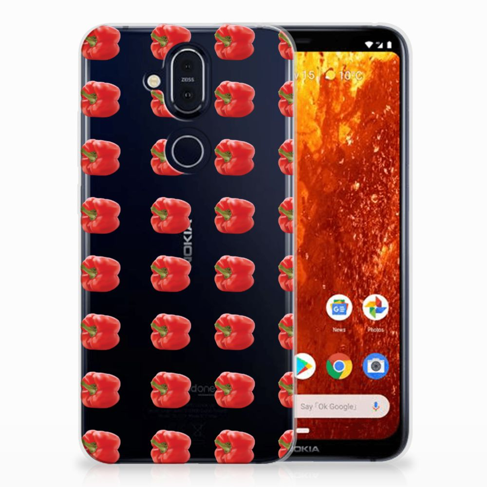Nokia 8.1 Siliconen Case Paprika Red