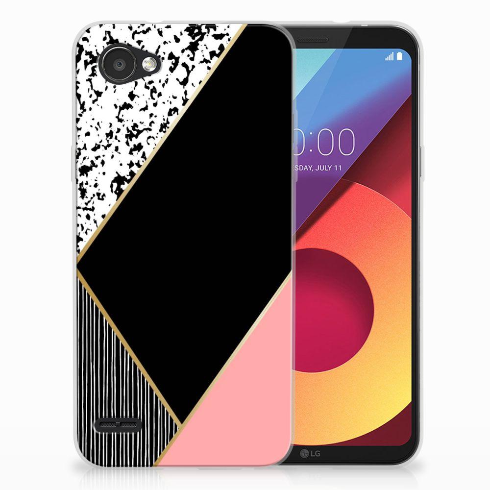 LG Q6 | LG Q6 Plus Uniek TPU Hoesje Black Pink Shapes