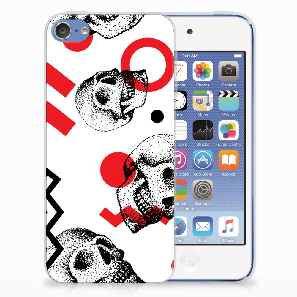 Silicone Back Case Apple iPod Touch 5 | 6 Skull Red