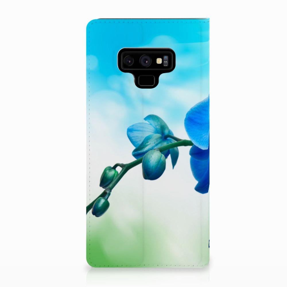 Samsung Galaxy Note 9 Standcase Hoesje Design Orchidee Blauw
