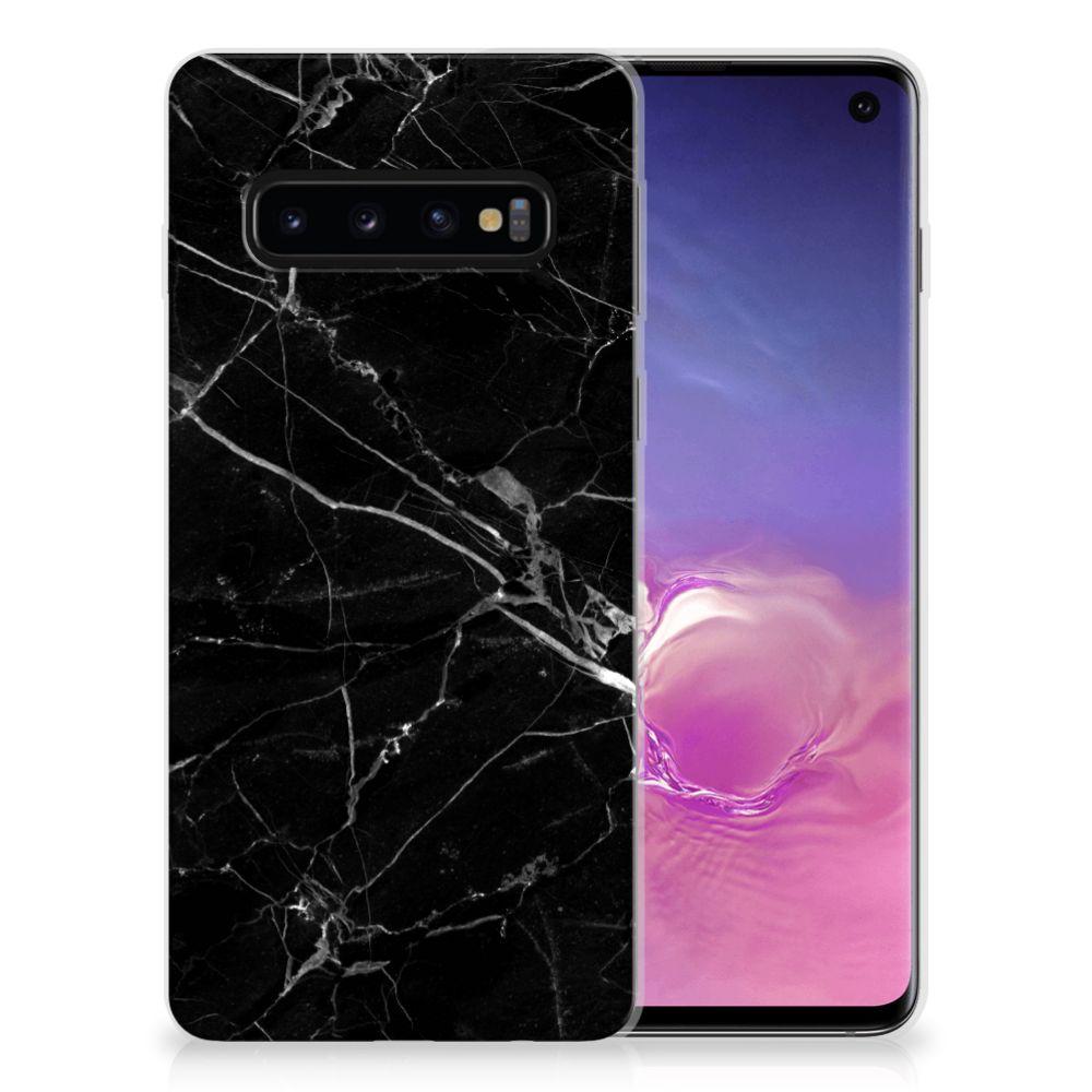 Samsung Galaxy S10 TPU Siliconen Hoesje Marmer Zwart