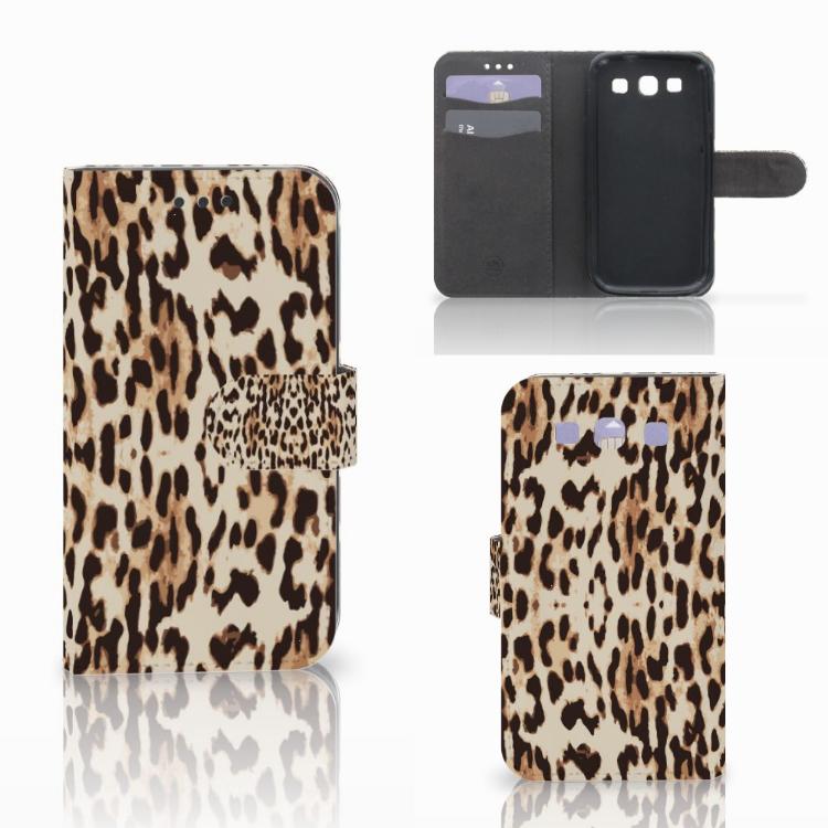 Samsung Galaxy S3 i9300 Telefoonhoesje met Pasjes Leopard