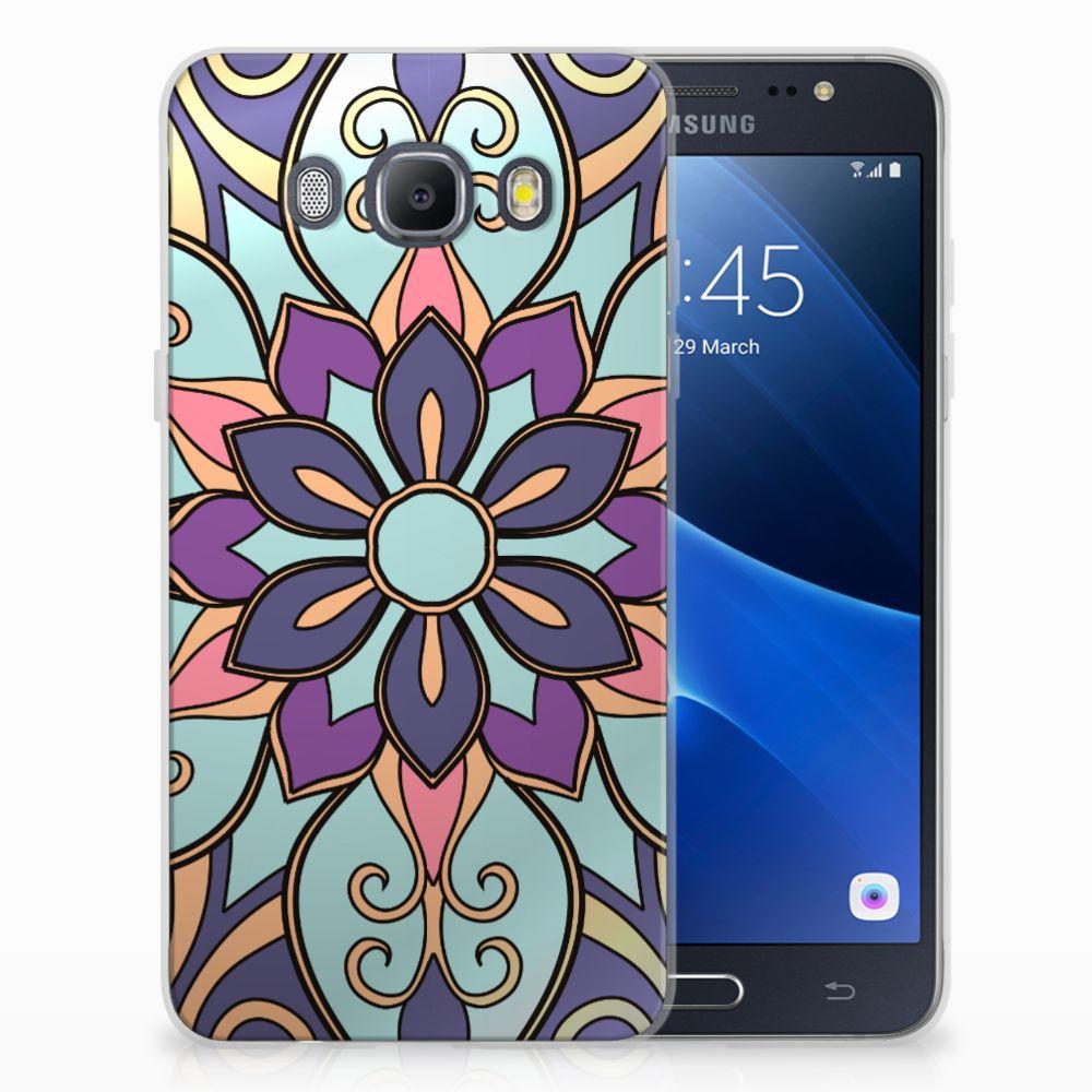 Samsung Galaxy J5 2016 TPU Hoesje Design Purple Flower