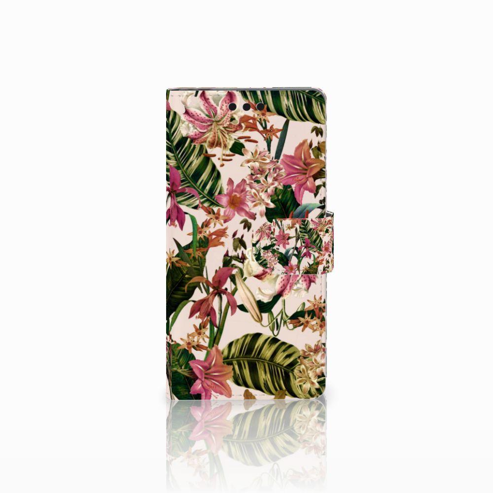 Sony Xperia M4 Aqua Uniek Boekhoesje Flowers