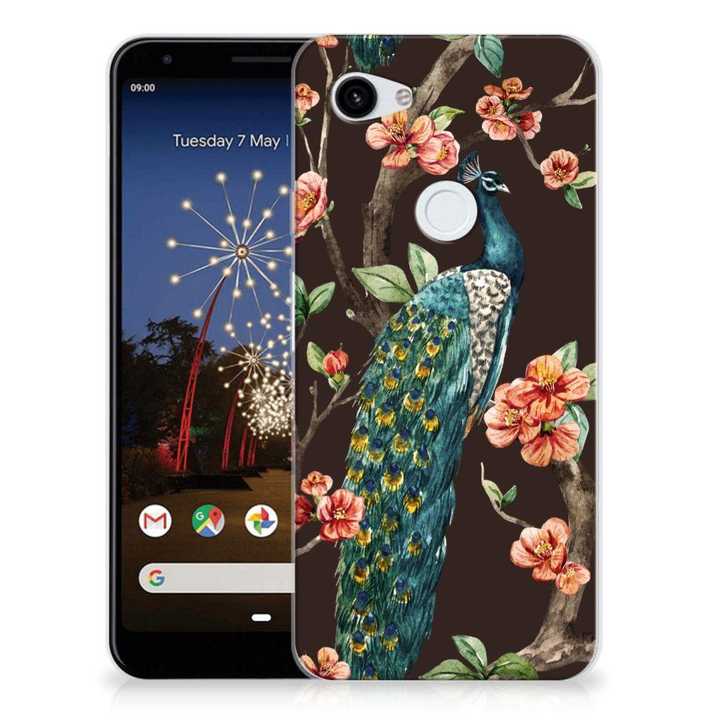Google Pixel 3A XL TPU Hoesje Pauw met Bloemen