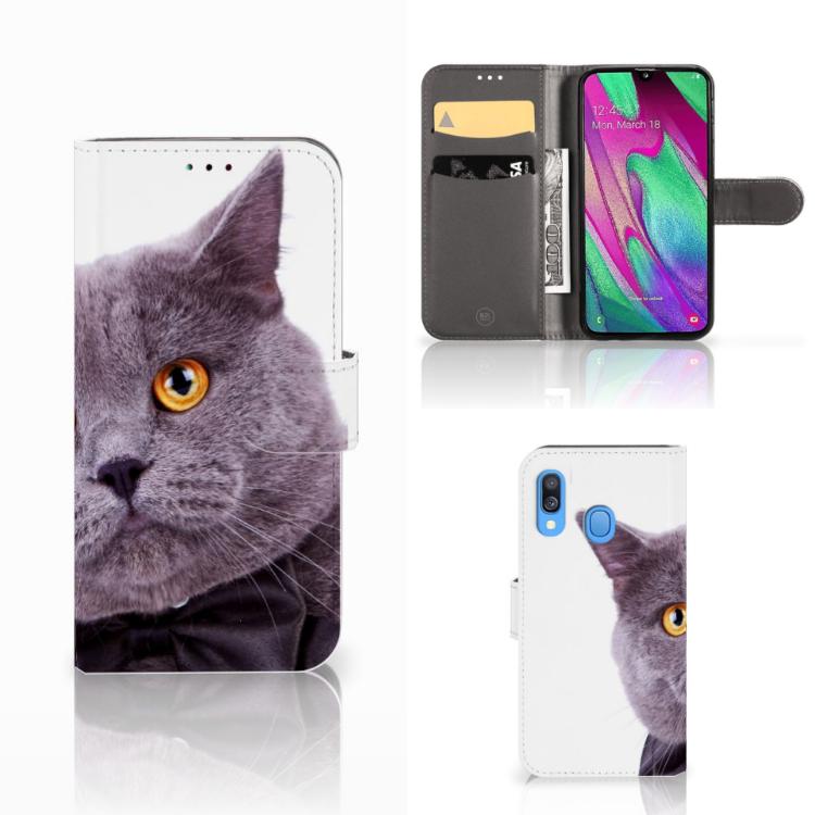Samsung Galaxy A40 Telefoonhoesje met Pasjes Kat