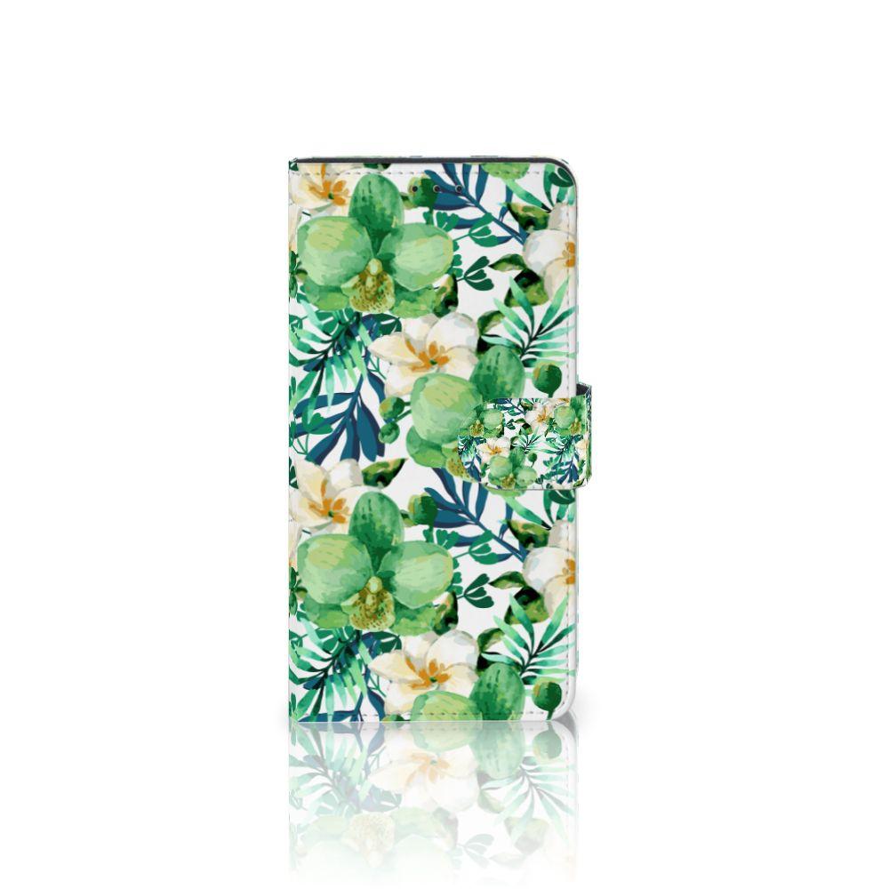 Samsung Galaxy A7 (2018) Uniek Boekhoesje Orchidee Groen