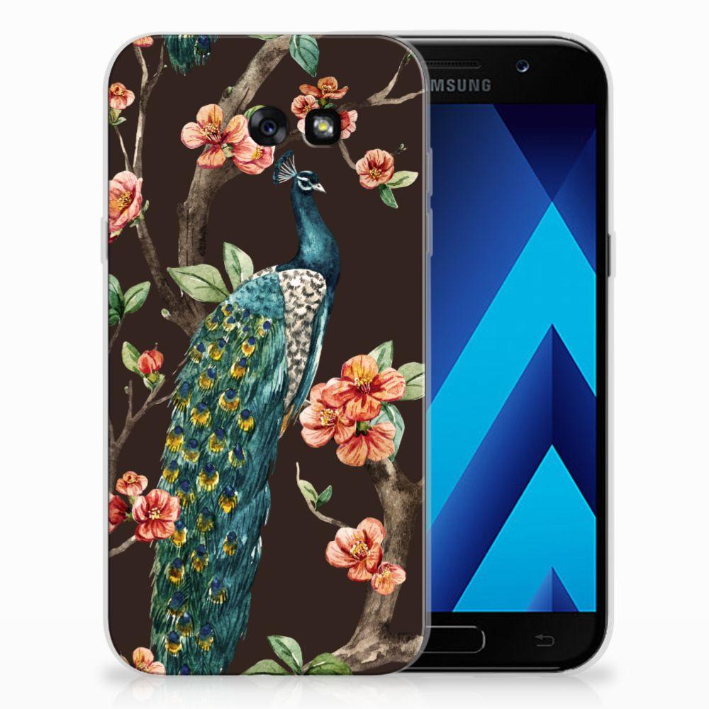 Samsung Galaxy A7 2017 TPU Hoesje Design Pauw met Bloemen