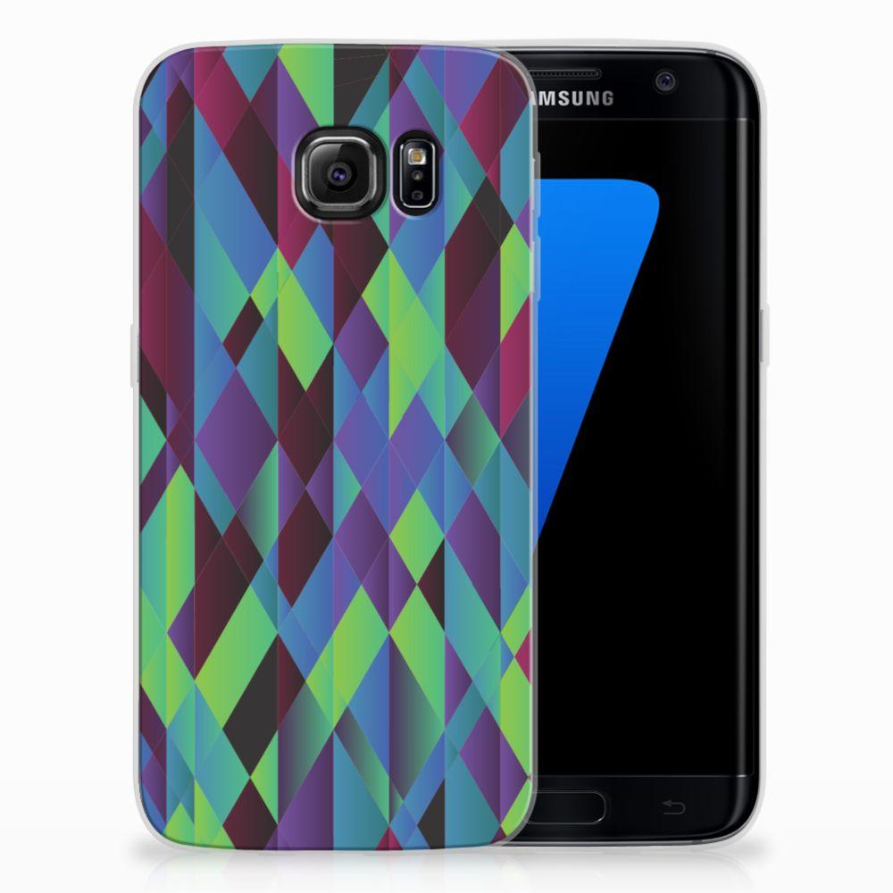 Samsung Galaxy S7 Edge TPU Hoesje Design Abstract Green Blue