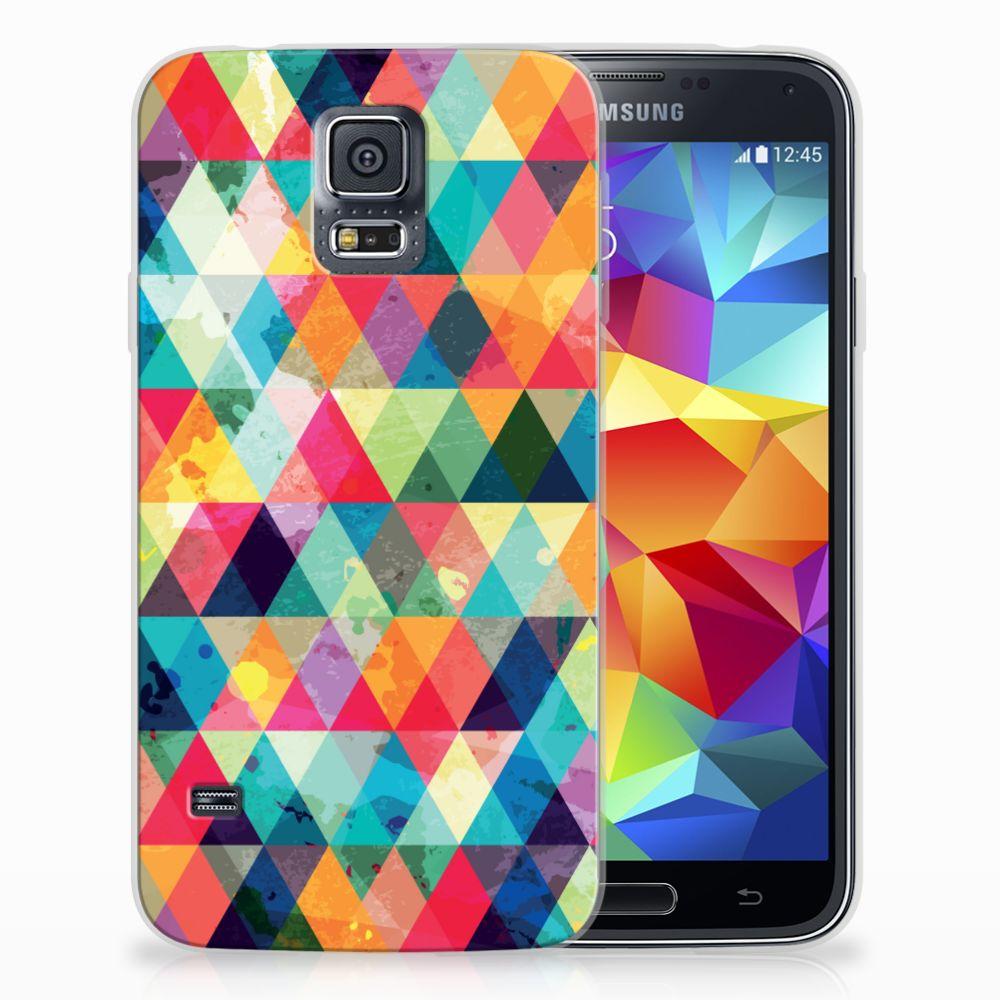 Samsung Galaxy S5 Uniek TPU Hoesje Geruit