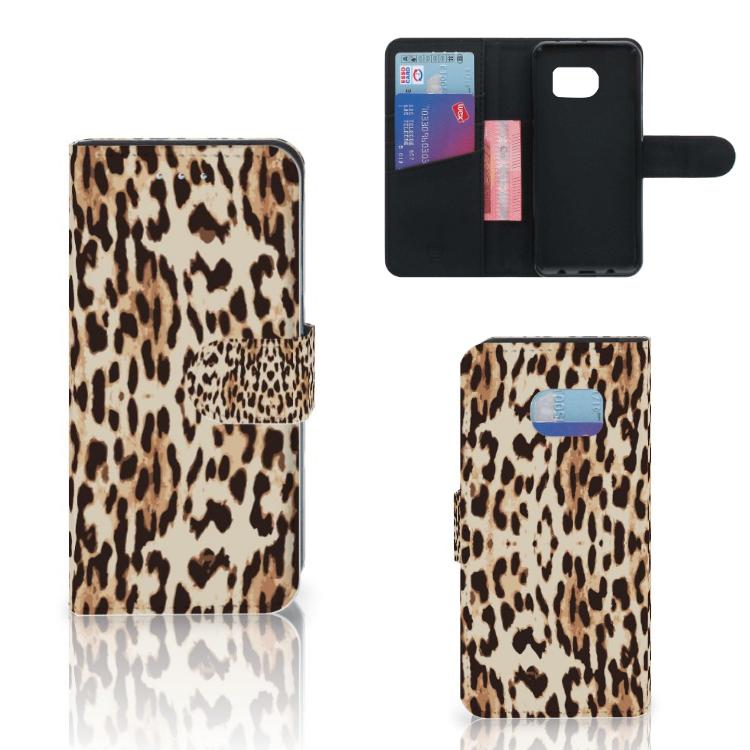 Samsung Galaxy S6 Edge Telefoonhoesje met Pasjes Leopard