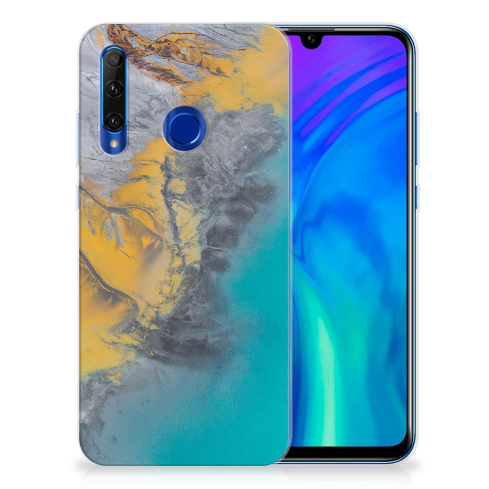 Honor 20 Lite TPU Siliconen Hoesje Marble Blue Gold