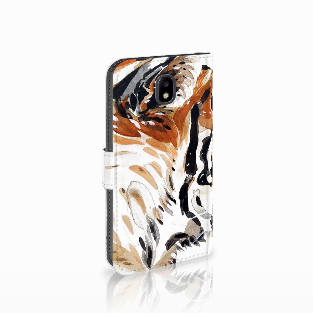 Samsung Galaxy J5 2017 Uniek Boekhoesje Watercolor Tiger