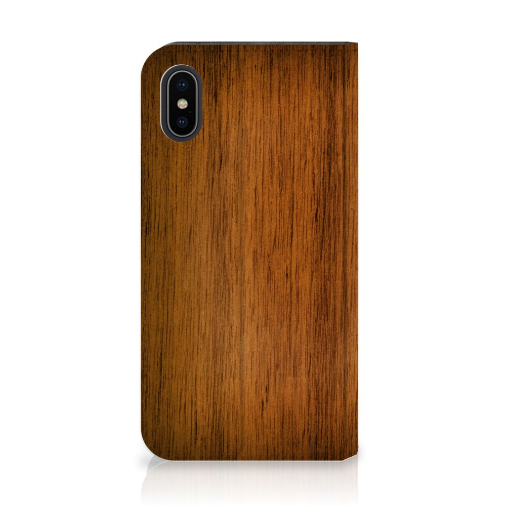 Apple iPhone X | Xs Book Wallet Case Donker Hout