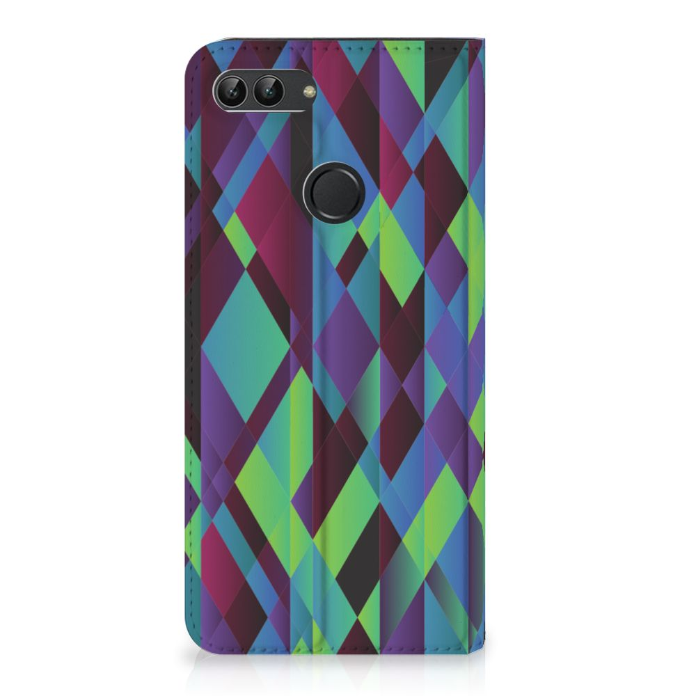 Huawei P Smart Standcase Hoesje Design Abstract Green Blue