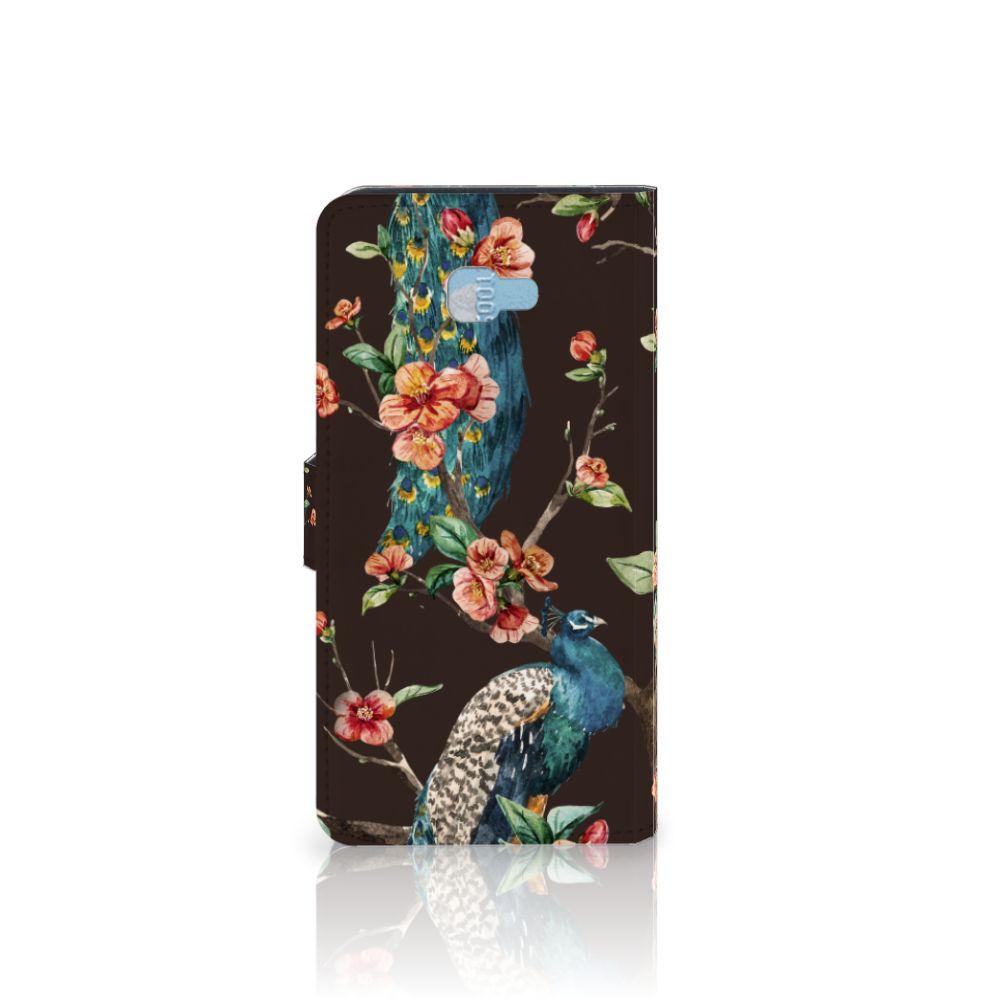 Samsung Galaxy J4 Plus (2018) Telefoonhoesje met Pasjes Pauw met Bloemen