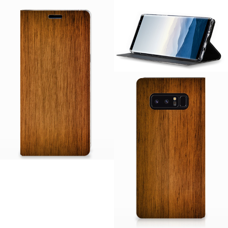 Samsung Galaxy Note 8 Book Wallet Case Donker Hout