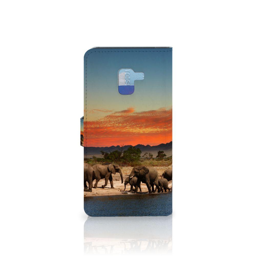 Samsung Galaxy A8 Plus (2018) Telefoonhoesje met Pasjes Olifanten