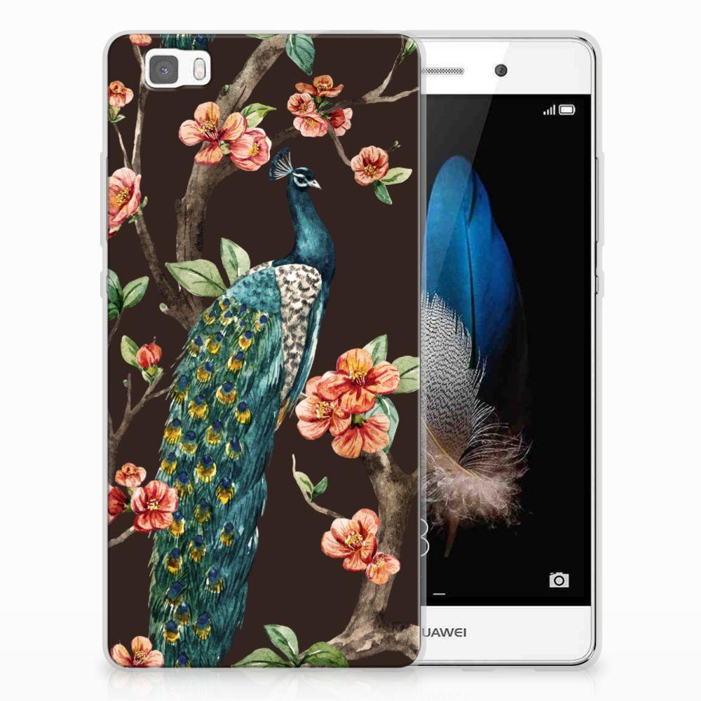 Huawei Ascend P8 Lite TPU Hoesje Pauw met Bloemen