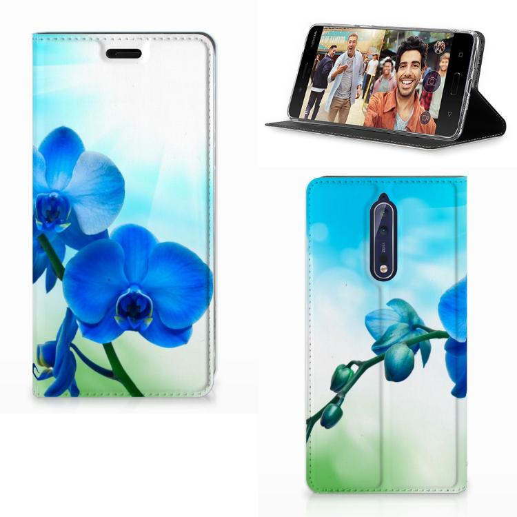 Nokia 8 Smart Cover Orchidee Blauw - Cadeau voor je Moeder