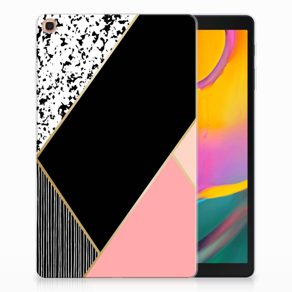 Samsung Galaxy Tab A 10.1 (2019) Back Cover Zwart Roze Vormen