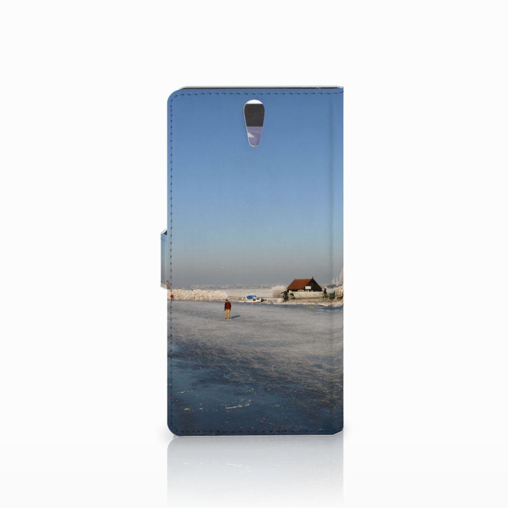 Sony Xperia C5 Ultra Flip Cover Schaatsers