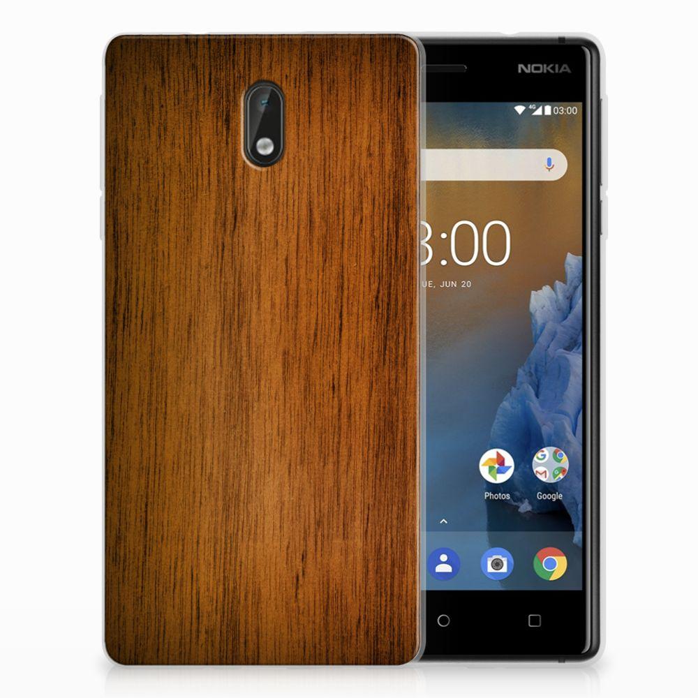 Nokia 3 Uniek TPU Hoesje Donker Hout