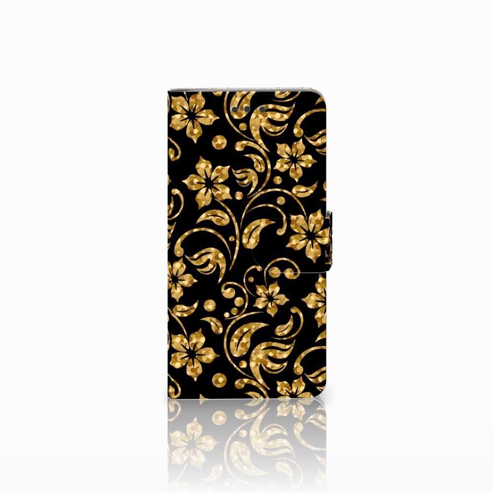 HTC U Play Boekhoesje Design Gouden Bloemen