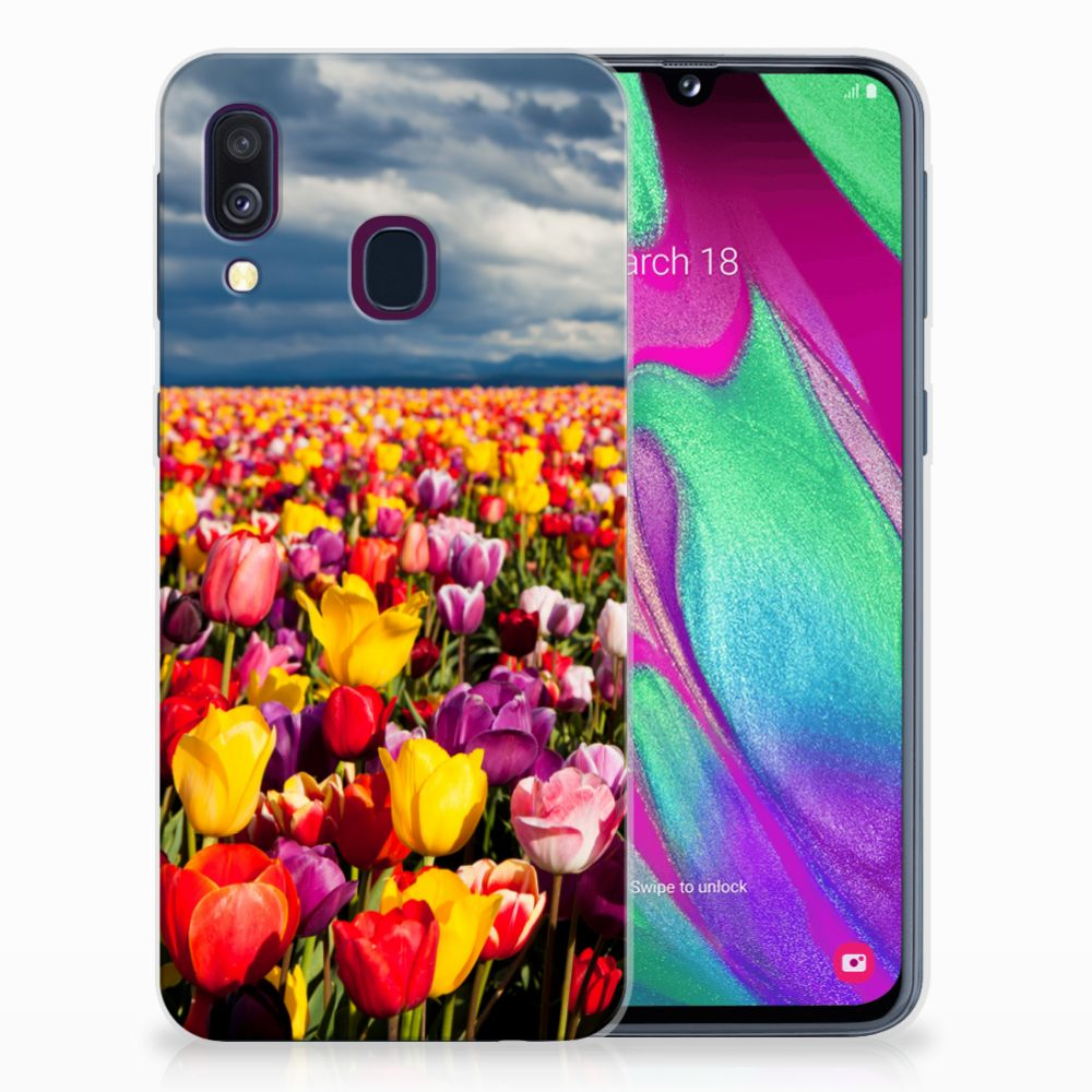 Samsung Galaxy A40 Uniek TPU Hoesje Tulpen