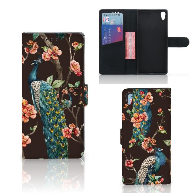 Sony Xperia XA1 Ultra Telefoonhoesje met Pasjes Pauw met Bloemen