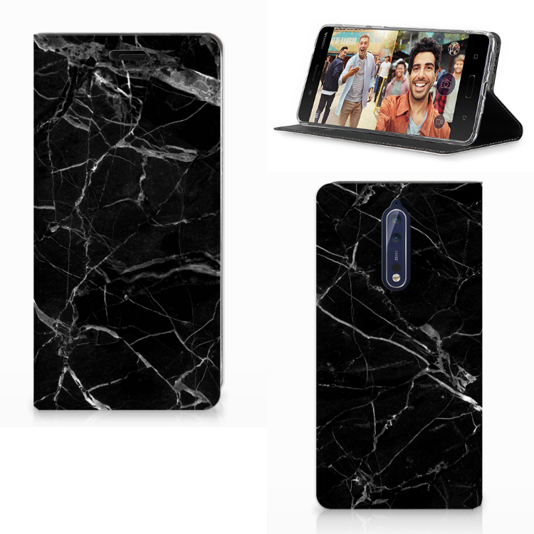 Nokia 8 Standcase Marmer Zwart - Origineel Cadeau Vader