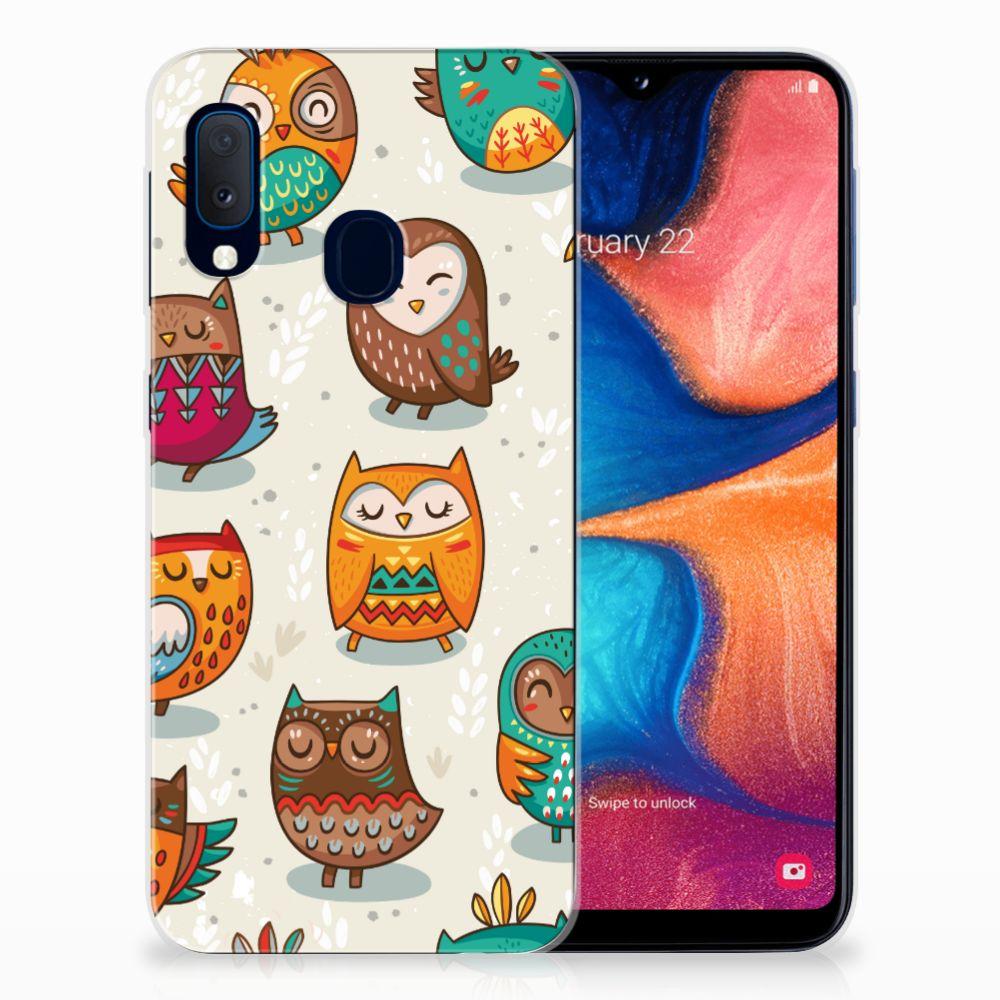 Samsung Galaxy A20e TPU Hoesje Vrolijke Uilen