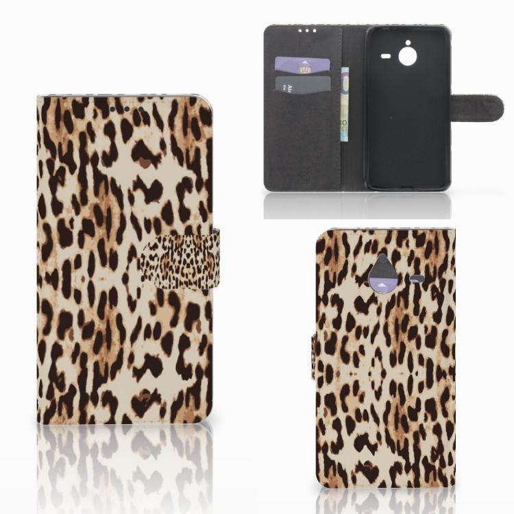 Microsoft Lumia 640 XL Telefoonhoesje met Pasjes Leopard