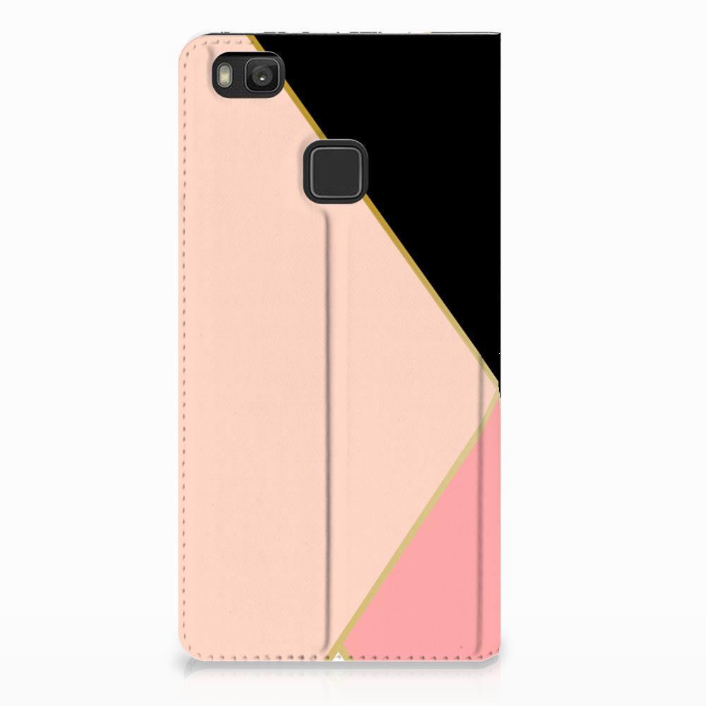 Huawei P9 Lite Uniek Standcase Hoesje Black Pink Shapes