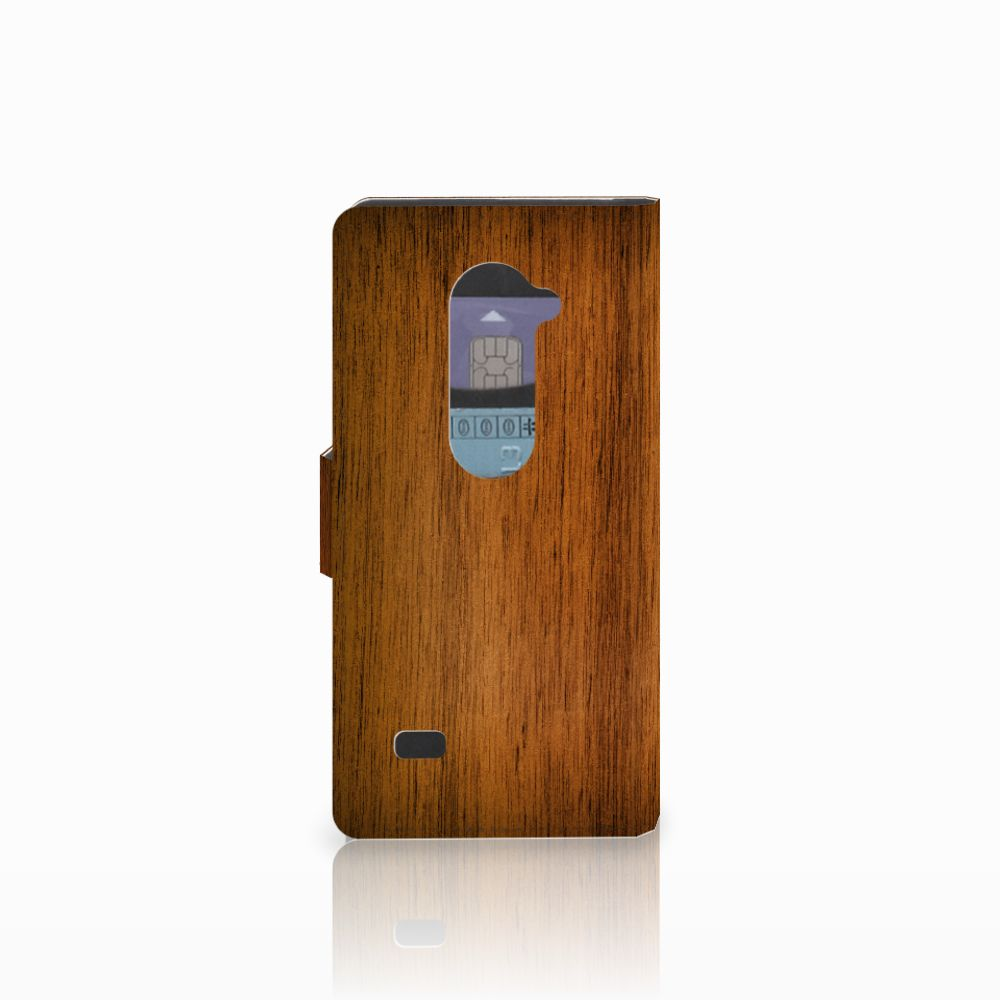 LG Leon 4G Book Style Case Donker Hout