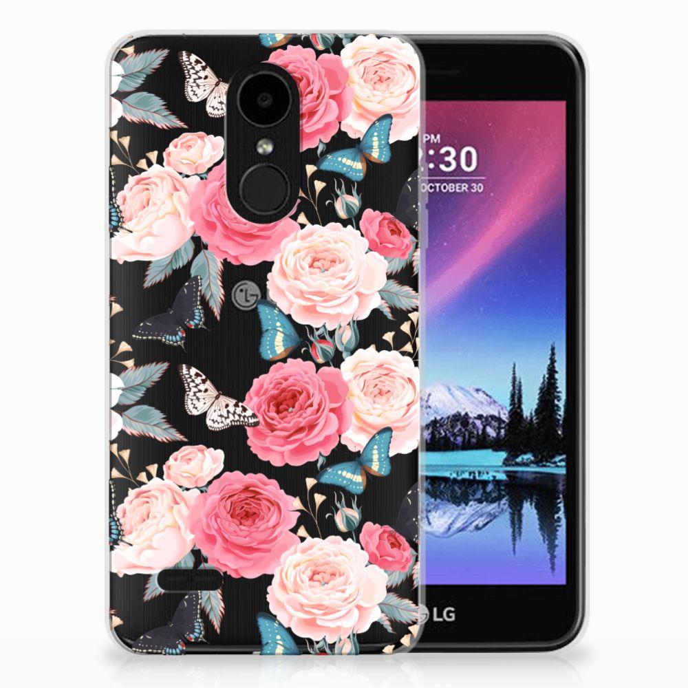 LG K4 (2017) Uniek TPU Hoesje Butterfly Roses