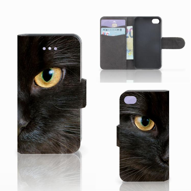 Apple iPhone 4 | 4S Telefoonhoesje met Pasjes Zwarte Kat