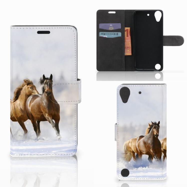 HTC Desire 530 Telefoonhoesje met Pasjes Paarden