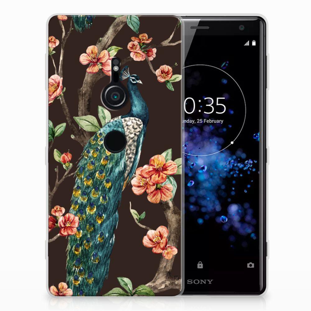 Sony Xperia XZ2 TPU Hoesje Design Pauw met Bloemen