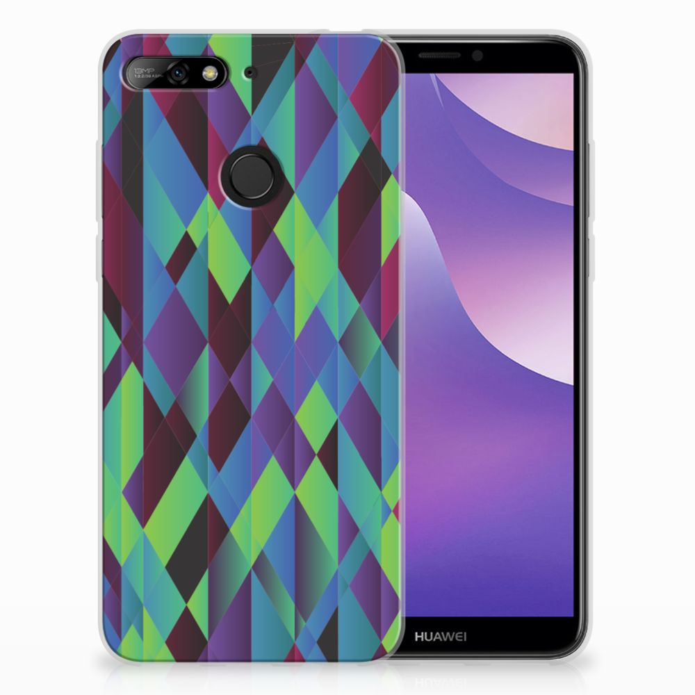 Huawei Y6 (2018) TPU Hoesje Design Abstract Green Blue