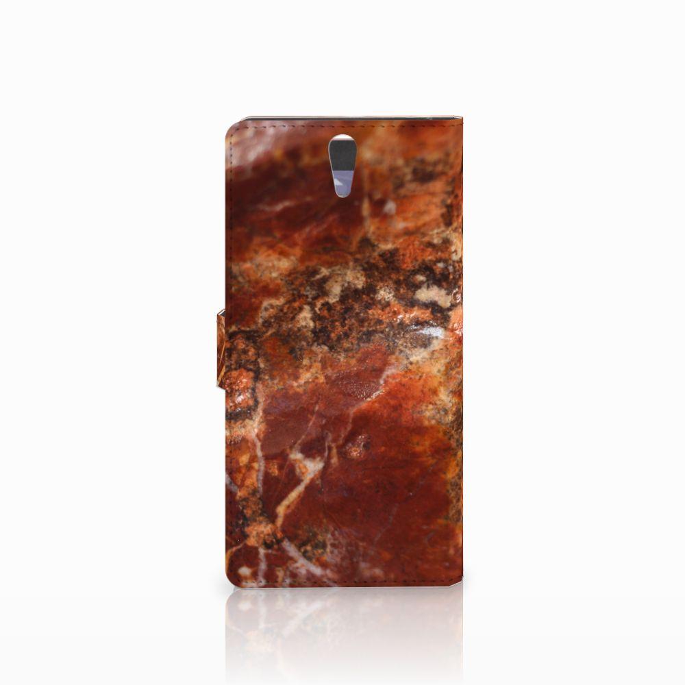 Sony Xperia C5 Ultra Bookcase Marmer Bruin